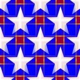 Abstract naadloos patroon met witte vijf-gerichte sterren in doorzichtige kleuren Stock Fotografie
