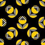 Abstract naadloos patroon met zwarte en gele bloemen Stock Afbeelding