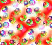 Abstract naadloos patroon op een rode en witte kleuren groene, blauwe, zwarte, gele gekleurde ballen Stock Foto