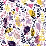Abstract naadloos patroon van bladeren, takken en vlekken op een witte achtergrond royalty-vrije illustratie