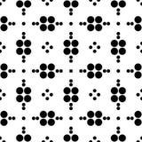 Abstract naadloos patroon van net van cirkels verschillende grootte Eenvoudige zwart-witte geometrische stoffentextuur Vector Stock Afbeelding