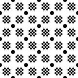 Abstract naadloos patroon van net van cirkels verschillende grootte Eenvoudige zwart-witte geometrische stoffentextuur Vector Stock Afbeeldingen