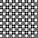Abstract naadloos patroon van net van cirkels verschillende grootte Eenvoudige zwart-witte geometrische stoffentextuur Vector Stock Foto's