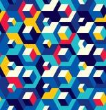 Abstract naadloos randpatroon van kubussen Optische gevolgen royalty-vrije illustratie
