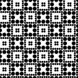 Abstract naadloos schaakpatroon van cirkels van verschillende grootte Eenvoudige zwart-witte geometrische textuur Vector Royalty-vrije Stock Foto