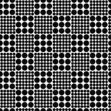 Abstract naadloos schaakpatroon van cirkels van verschillende grootte Eenvoudige zwart-witte geometrische textuur Vector Royalty-vrije Stock Fotografie