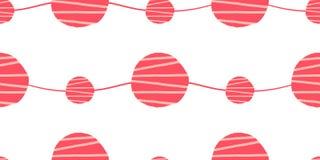Abstract naadloos vectorpatroon Rode roze en witte golven met hand getrokken cirkelsachtergrond Stock Afbeelding
