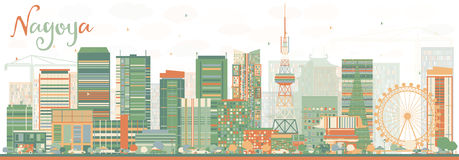 Abstract Nagoya Skyline with Color Buildings. Royalty Free Stock Photo