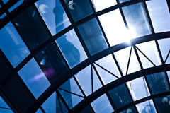 Abstract national landmark. Looking up at the CN tower through a glass walkway Stock Image