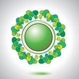 Abstract natural circle element. Abstract natural green circle button Stock Photo