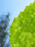 Abstract natural color with green triangles and white dot textur Stock Images