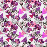 Abstract natural geometric seamless pattern. Triangles with butterfly, orchid and marble grunge textures. Abstract geometric background in retro vintage 80s Royalty Free Illustration