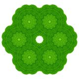 Green leaves with kaleidoscope effect on white background. Abstract floral mandala pattern. Abstract natural greenery pattern, green leaves with kaleidoscopic royalty free stock photography