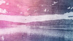 Abstract natural landscape. With signs of aging, violet bluish tint Royalty Free Stock Images