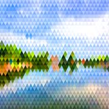 Abstract landscape illustration with triangular pattern. Abstract natural landscape triangular background with polygonal pattern Royalty Free Stock Photos