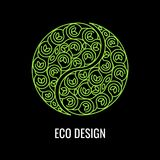 Abstract natural Linear logo. Green symbol Yin Yang on black bac. Kground. Vector sign for eco design. Alternative, Chinese medicine and wellness, zen meditation Royalty Free Stock Image