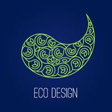 Abstract natural Linear logo. Green symbol Yin Yang on dark blue. Background. Vector sign for eco design. Alternative, Chinese medicine and wellness, zen Stock Photo