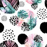 Abstract natural seamless pattern inspired by memphis style. Circles filled with tropical leaves, doodle, grunge texture. Hand painted watercolour illustration Stock Images