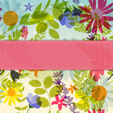 Abstract Natural Spring Background with Flowers and Leaves. Vect Stock Photo