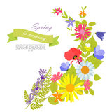 Abstract Natural Spring Background with Flowers and Leaves.  Stock Photography