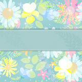 Abstract Natural Spring Background with Flowers and Leaves. Vector Illustration Stock Photos