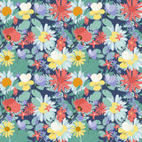 Abstract Natural Spring Seamless Pattern Background with Flowers Royalty Free Stock Photography
