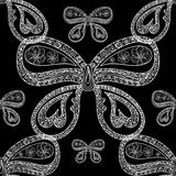 Abstract natural vector seamless pattern with figured butterflies. Decorative endless texture Royalty Free Stock Image