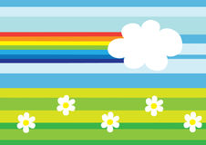 Abstract nature. Illustration of abstract nature, cartoon rainbow and glade Stock Images