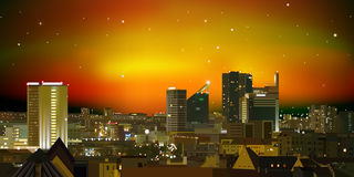 Abstract nature background with city and sunset Royalty Free Stock Photo