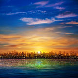 Abstract nature background with panorama of city clouds and suns Stock Image