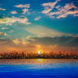 Abstract nature background with panorama of city and sunset Royalty Free Stock Photography