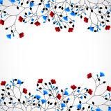 Abstract nature background with red and blue flowers. Vector stock illustration