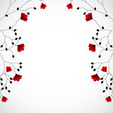 Abstract nature background with red flowers. Vector Royalty Free Stock Photo