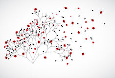 Abstract nature background with red flowers. Vector Stock Image