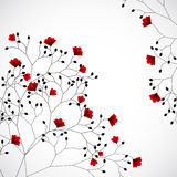 Abstract nature background with red flowers. Vector Stock Photo