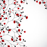 Abstract nature background with red flowers. Vector Royalty Free Stock Images