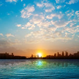 Abstract nature background with silhouette of London and sunrise Stock Photography