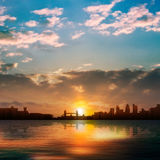 Abstract nature background with silhouette of London and sunrise Royalty Free Stock Photos
