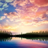Abstract nature background with sunrise on forest lake and cloud Royalty Free Stock Photos