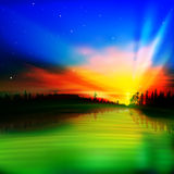Abstract nature background with sunrise Stock Photos