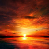 Abstract nature background with sunset and clouds Royalty Free Stock Images