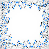 Abstract nature background tree with blue flowers. Vector royalty free illustration
