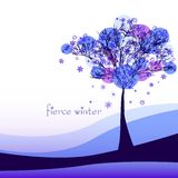 Abstract nature background with tree. Cruel winter. Vector illustration Stock Image