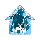 Abstract nature house with deer and tree paper art background Stock Images