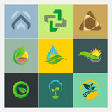 Abstract nature leaf environment bio ecology logos Royalty Free Stock Images