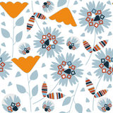 Abstract nature seamless pattern with adorable gentle flowers, Royalty Free Stock Image