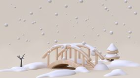 Abstract nature snow winter new year concept wood bridge cartoon style minimal cream background 3d render. Ing vector illustration