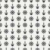 Abstract nautical seamless background pattern with steering wheel and anchor.  Stock Photo