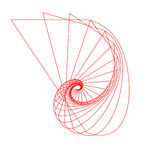 Abstract Nautilus Outline. Elegant, stylized, outline of a red nautilus-shape object stock illustration
