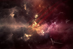 Abstract nebula. Dark nebula landscape from the space vector illustration